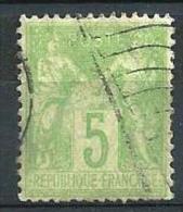"YT 102 "" Sage Type III 5c. Vert-jaune "" 1898-1900 Drapeau RF - 1898-1900 Sage (Type III)"