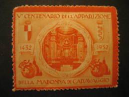 Madonna Di Caravaggio 1932 Religion Italy Poster Stamp Label Vignette Viñeta Cinderella - Christianisme