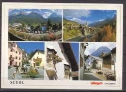 Scuol Engiadina , Mehrbildkarte , Sportanlage Trü - St Georgskirche Mit En - Dorfplatz Bügl Grond - Engadiner Erker - - GR Grisons