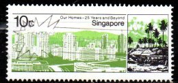 SINGAPORE 1985 25th Anniv Of Housing And Development Board - 10c Modern Housing Estate And Squatter Settlement  FU - Singapour (1959-...)