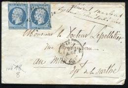 FRANCE - N° 10 PAIRE TOUCHÉ, OBL. ETOILE MUETTE DE PARIS POUR LE MANS - B & RARE - 1852 Louis-Napoléon