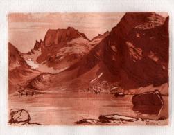 ESTAMPE: SIGNEE JJY LREVES ( ORTHOGRAPHE A VERIFIER ) -  05 - HAUTES ALPES  - PAYSAGE DE MONTAGNE - Estampes