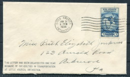1934 USA Little America Antarctic, BYRD EXPEDITION, DELAYED FOR ONE YEAR, Polar - Cover + Letter - Other
