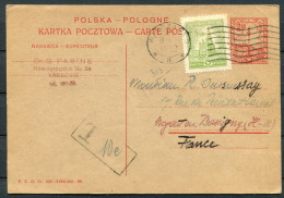 1928 Poland Warsaw Uprated Stationery Postcard - France, Postage Due Taxe - ....-1919 Provisional Government