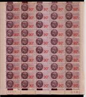 Feuille Complète Fiscaux 50 Timbres 1943 Superbe** Gomme Intacte - Feuilles Complètes