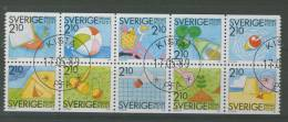 SWEDEN 1989 SUMMERTIME CTO USED BLOCK OF 10 - Usati