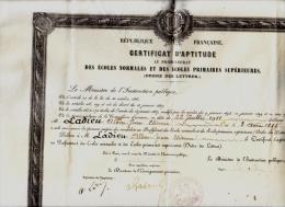 Parchemin épais Certificat D'aptitude Au Professorat Des écoles Normales Et Primaires Supérieures  1911 - Documents Historiques
