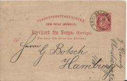 NORWAY 1892 – PRE-STAMPED POSTCARD OF 10 ORE - NOT ILLUSTRATED – ADDR TO HAMBURG- POSTM CHRISTIANIA NOV 7,1892   REPOS 1 - Ganzsachen