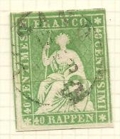SWITZERLAND 1858 Error 40 Rp Green Thread SG 51s U #AF60 - Errors & Oddities