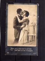 CARTOLINA AMORE ROMANTICO FIDANZATI SPEDITA PETTUEN 23 4 1919 - Couples
