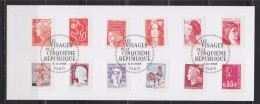 Les Visages De La Cinquième République Autocollants 225 à 236 Oblitérés 6.11.08 Paris Sur Carton - Adhesive Stamps