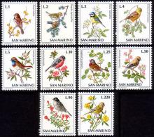 San Marino 1972 Bird Sparrow Flower MNH Set – Scott 777/786 – SG 938/947 - Passeri