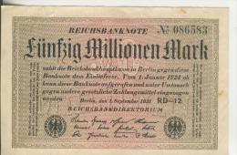Deutsches Reich -- Reichsbanknote Während Der Inflationszeit V. 1923  50 Millionen Mark  (1819) - [ 3] 1918-1933 : República De Weimar