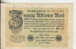 Deutsches Reich -- Reichsbanknote Während Der Inflationszeit V. 1923  20 Millionen Mark  (1819) - [ 3] 1918-1933 : República De Weimar