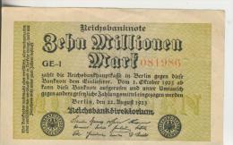 Deutsches Reich -- Reichsbanknote Während Der Inflationszeit V. 1923  10 Millionen Mark  (1821) - [ 3] 1918-1933 : República De Weimar