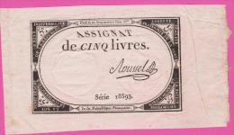 ASSIGNAT - 5 Livres Du 10 Brumaire AN 2 - ROUSSEL - Assignats & Mandats Territoriaux