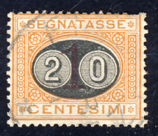 Segnatasse 3° Emissione - 1890/91 - Mascherine -  20 Cent. Su 1 Ocra E Carminio  (Sassone ST18) - Postage Due