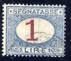 Segnatasse 4° Emissione - 1890/94 - 1 Lira Azzurro E Carminio  (Sassone ST27) - 1878-00 Humbert I