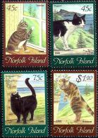 NORFOLK ISLAND CAT CATS ANIMAL SET OF 4 MINT 1998 SG658-01 READ DESCRIPTION !! - Isla Norfolk