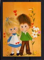 CARTOLINA ROMANTICA FIORI BAMBINI CUORI NUOVA - Kinder-Zeichnungen