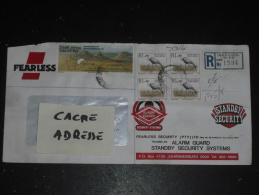 LETTRE RECOMMANDEE AFRIQUE DU SUD SOUTH AFRICA - YT 821 X 4 ET 879 - OISEAU GRUE CARONCULEE - CARTE ETAT LIBRE MONTAGNES - Afrique Du Sud (1961-...)