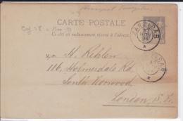 1894 - CARTE ENTIER POSTAL SAGE UTILISEE à ZANZIBAR (RARE) Pour LONDON (GB) - Entiers Postaux