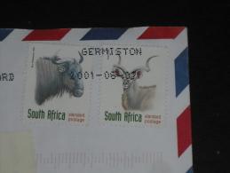 LETTRE AFRIQUE DU SUD SOUTH AFRICA - YT 999 ET 1001 - FAUNE ANTILOPE KOUDOU GNOU - - Afrique Du Sud (1961-...)