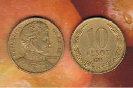 CHILE -  10 Pesos 1995  KM228 - LIBERTADOR. B. O'HIGGINS  - - Chile