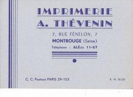¤¤  -  MONTROUGE  -  CDV De L´Imprimerie A. THEVENIN 7 Rue Fénelon  - Voir Description  -  ¤¤ - Visiting Cards