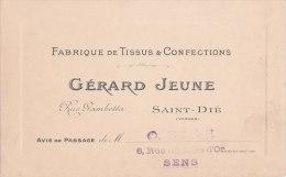 """¤¤  -  SAINT-DIE  -  CDV De La Fabrique De Tissus & Confection """" Gérard JEUNE """" Rue Gambetta  - Voir Description  -  ¤¤ - Cartes De Visite"""