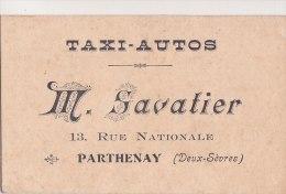 ¤¤  -  PARTHENAY  -  CDV Du Taxi-Auto M. SAVATIER , 13 Rue Nationale  -  Voir Description  -  ¤¤ - Cartes De Visite