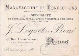 """¤¤  -  ROUEN  -  CDV De La Manufacture De Confections """"J. LOQUETS-BONE """" 42 Rue Armand-Carel - Voir Description  -  ¤¤ - Visiting Cards"""