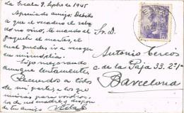 4785. Postal LA ESCALA (Gerona) 1945. A La Pesca De Los Sardinales - 1931-50 Storia Postale