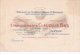 LYON   -  CDV Des Etablissements Claudius BAS , 75 & 77 Rue L'Abondance  -  Chemises Fantaisie  -  Voir Description - Visiting Cards