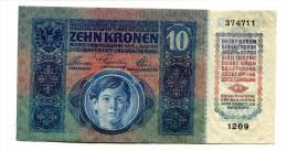 """Austria Autriche Hongrie 10 Kronen 1915 Without Overprint """"ohne DÖ"""" AUNC / UNC - Autriche"""