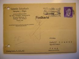 DR 1942 - Postkarte Firma Valentin Scharbach Kempten / Algäu - Spezialgeschäft (nach Prag - Protektorat B. U. M.) - Briefe U. Dokumente