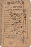 CARTE DE VETEMENTS ET D ARTICLES TEXTILES MARSEILLE 6/7/1942 - Militaria