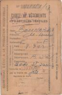 CARTE DE VETEMENTS ET D ARTICLES TEXTILES MARSEILLE 13/4/1946 - Militaria