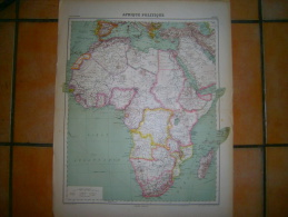 ANCIENNE CARTE AFRIQUE POLITIQUE   DIM 57 X 45 CM - Topographical Maps