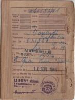 CARNET D ALIMENTATION  MARSEILLE 10/9/1946 - Militaria