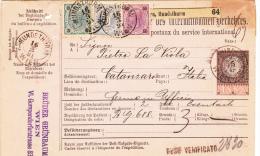 """Osterreich Paketkarte 1888 //// 1883 / 1890  3 Kr / 10 Kr / 50 Kr  Wien """" Bruder Grunbaum """" - 1850-1918 Imperium"""