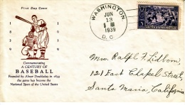 U.S. F.D.C.  BASEBALL - First Day Covers (FDCs)