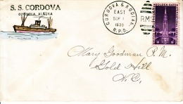U.S.  R.P.O. ALASKA  COVER Hand Painted   1939  S.S. CORDOVA To  GOLD  HILLS - United States