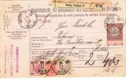 Osterreich Paketkarte 1890 /// Franz Joseph 1 Kr / 12 Kr / 50 Kr Neubau Wien *Verlags-Kunsthandlung* - 1850-1918 Imperium