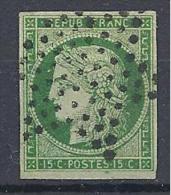 CERES   N° 2b VERT FONCE OBL TTB Signé BRUN - 1849-1850 Cérès