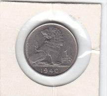 1 FRANC Nickel Léopold III 1940 FL/FR - 1934-1945: Leopold III