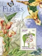 Ca13315b Central African 2013 Flower Orchid Butterflies Bird S/s - Orquideas