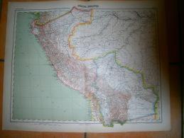 ANCIENNE CARTE  PEROU  BOLIVIE   DIM 57 X 45 CM - Topographical Maps