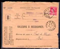 SEMEUSE Sur Devant Enveloppe VALEURS A RECOUVRER Cachet PARIS 27-11-27 - France