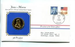 "Etats - Unis USA "" Presidents Of United States"" Gold Plated Medal """" James Monroe """" FDC / BU / UNC - United States"